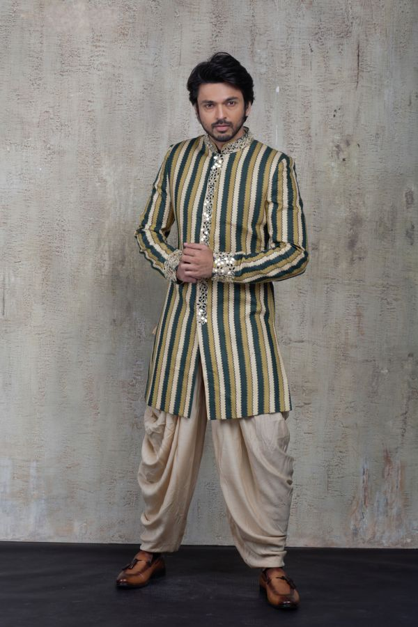 Multi-Coloured Striped Sherwani with Plain Kurta and Salwaar