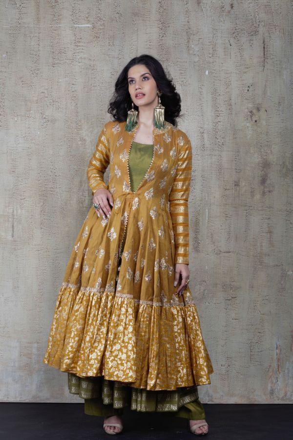 Mustard Cape with Kalidar and Pant