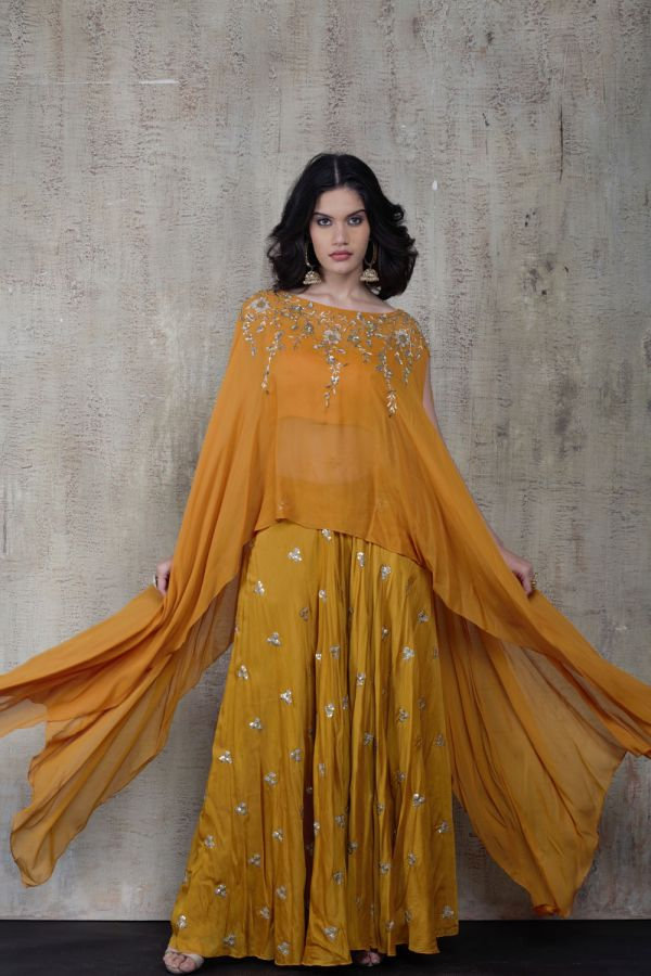 Mustard Cape with Sharara Pant and Bustier