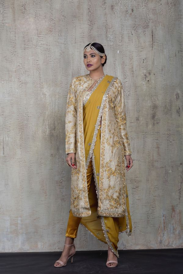 Mustard Pant Saree with Jacket and Bustier
