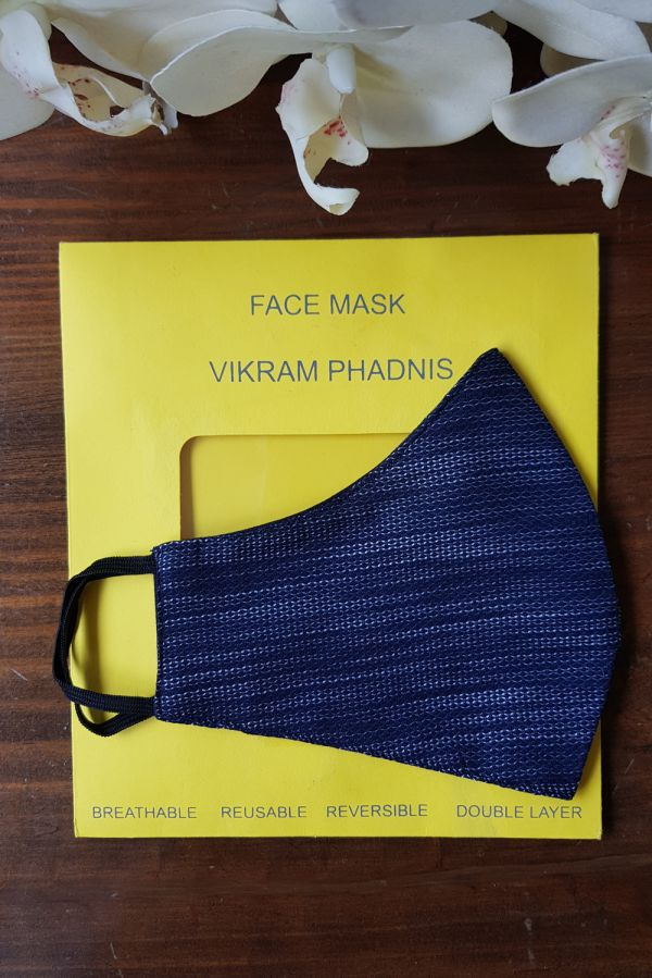 Navy Blue and White Textured Cotton Mask-Reversible