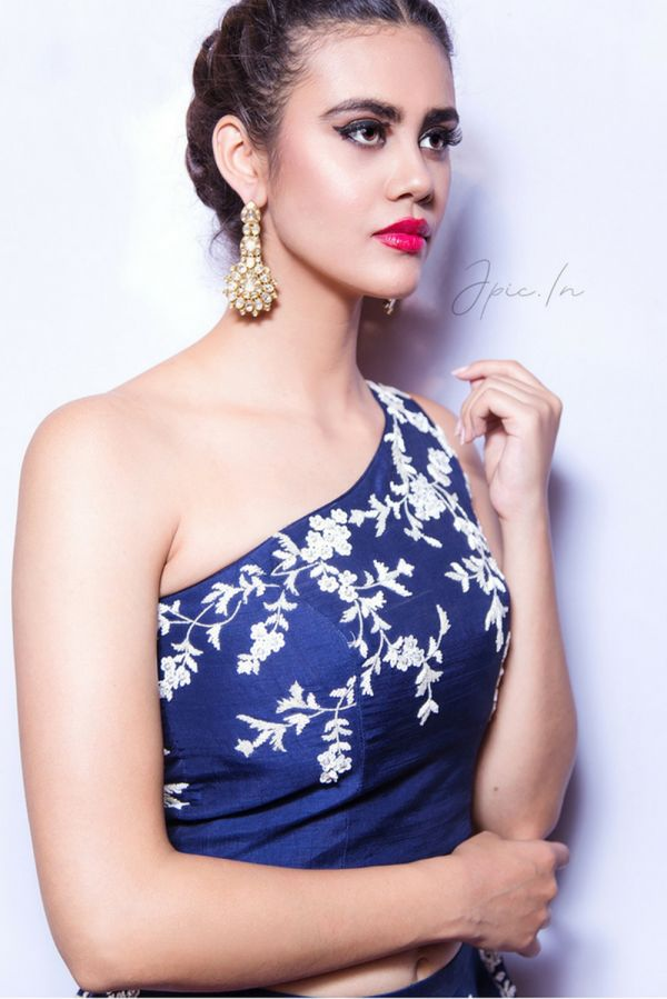 Navy Blue Lehenga with One Shoulder Top