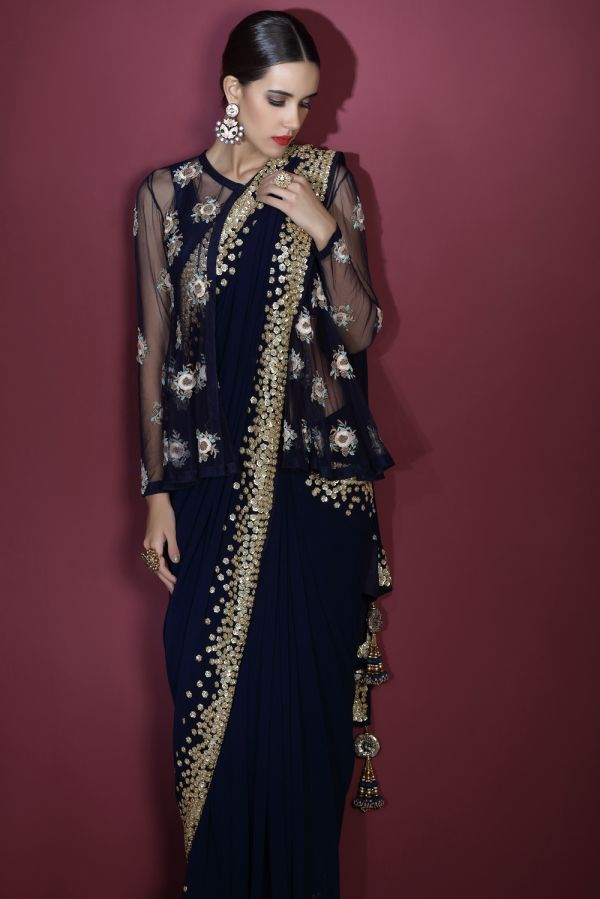 Navy Blue Saree and Kedia Cape