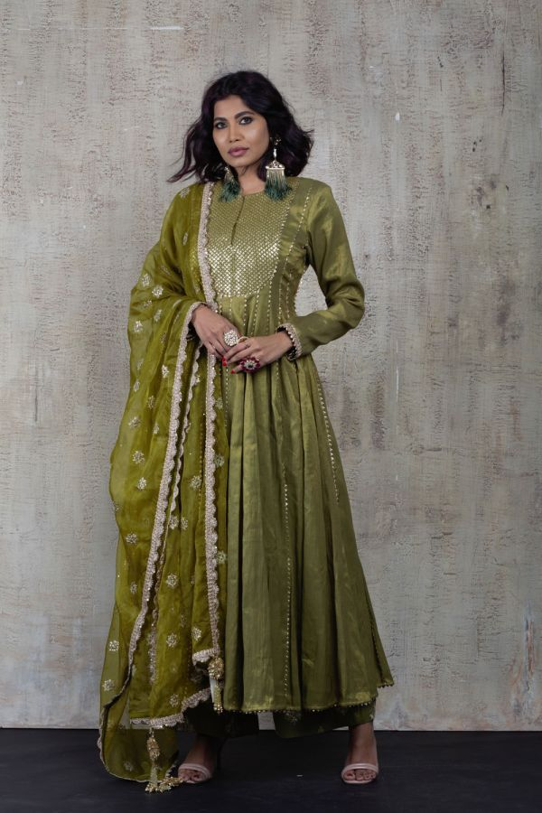 Olive Green Anarkali with Pant and Dupatta
