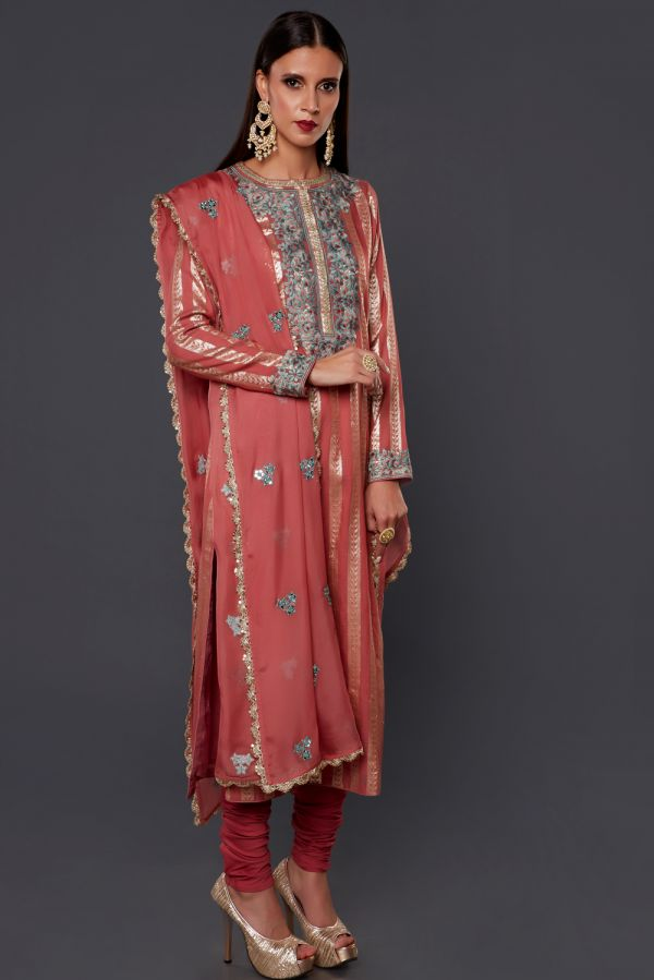 Onion Pink Chanderi Kurta with Churidar and Organza Dupatta