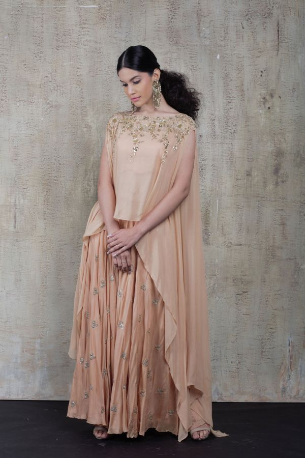 Peach Cape with Bustier and Sharara Pant