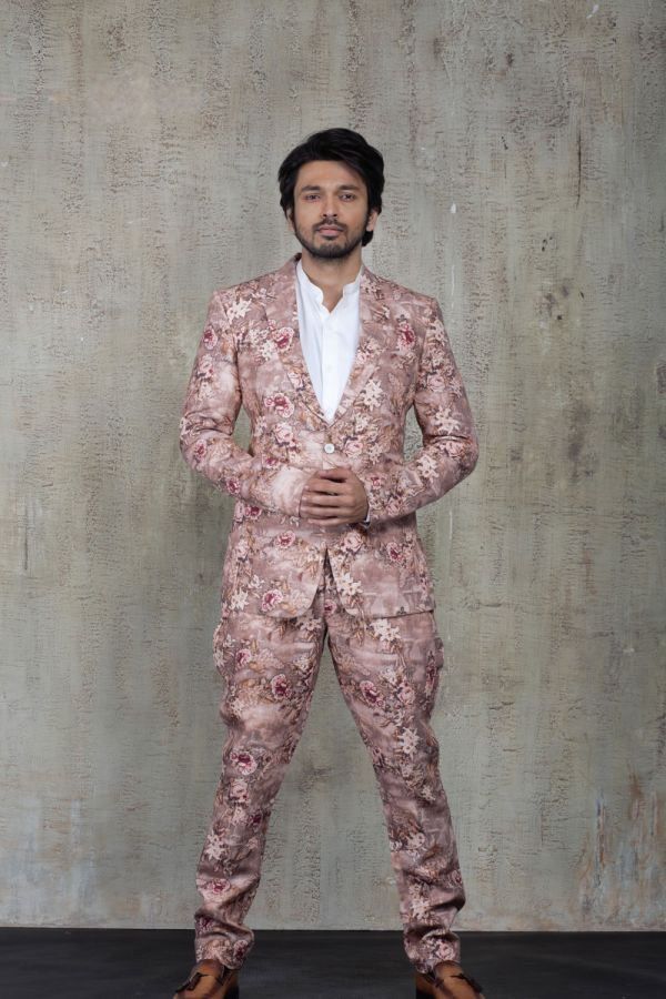 Pink Printed Suit with White Shirt
