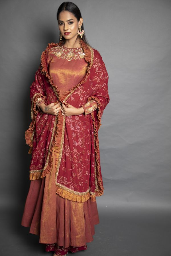 Red Anarkali with Pants and Dupatta