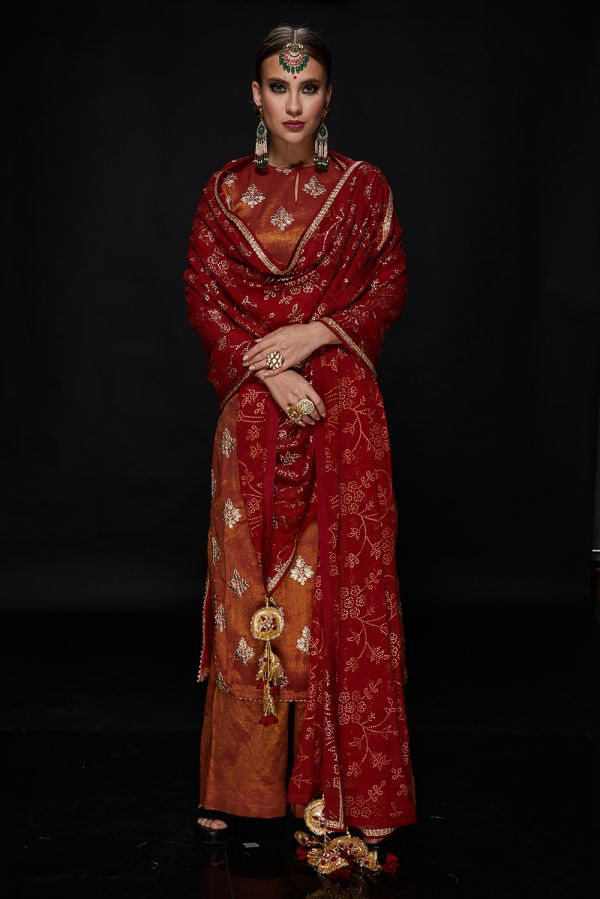 Red and Gold Buta Kurta with Pants and Georgette Dupatta
