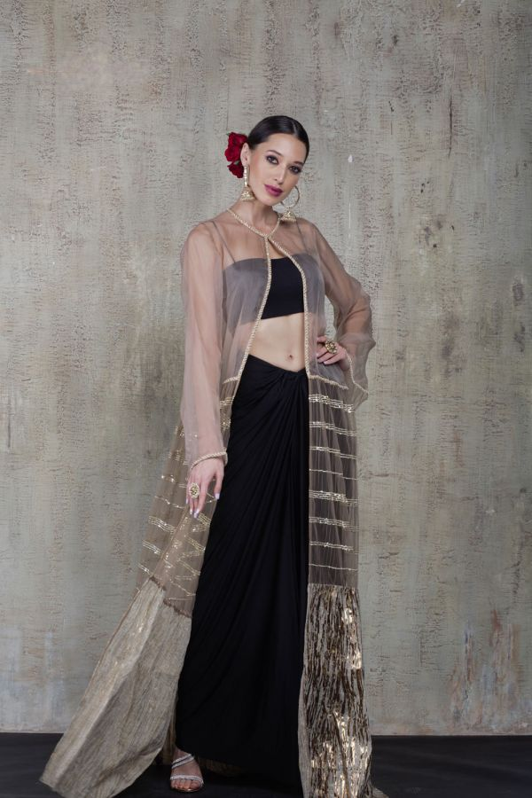 Rose Gold Jacket with Black Knot Skirt and Bustier