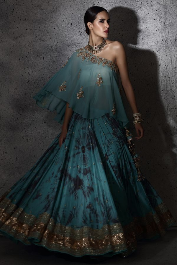 Teal and Grey Lehenga with Georgette Poncho