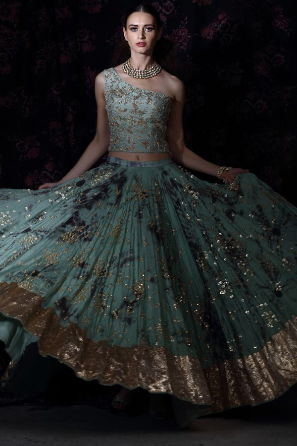 Teal and Grey Tie Dye Lehenga with One Shoulder Top