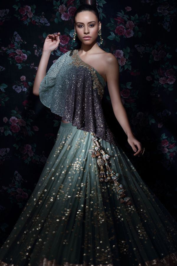 Teal Net Lehenga with Shaded Off Shoulder Poncho
