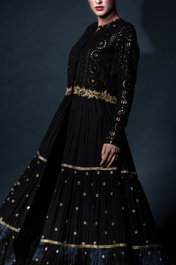 Three Layered Cape Style Black and Grey Kalidar with Pants