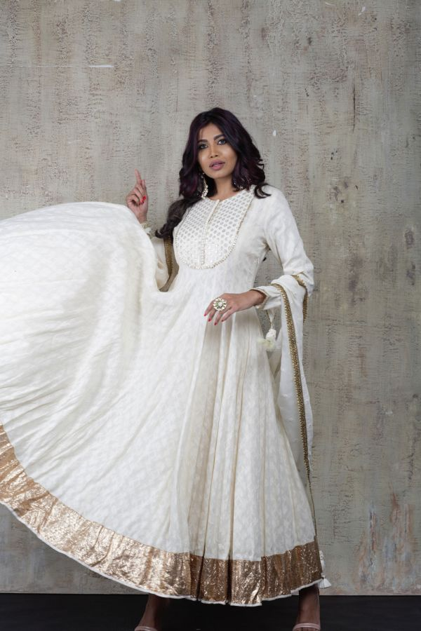 White Anarkali with Pant and Dupatta