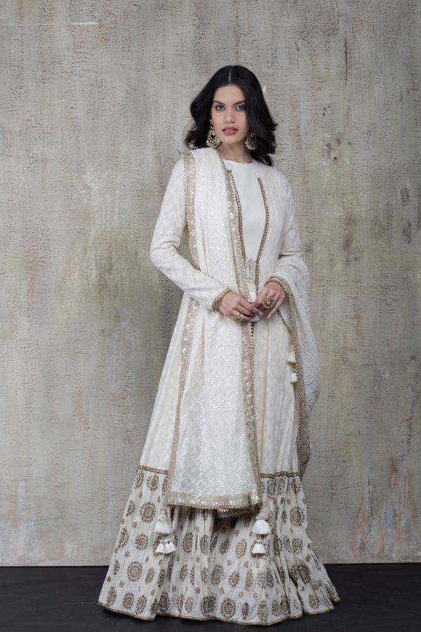 White Cape with Kalidar and Dupatta