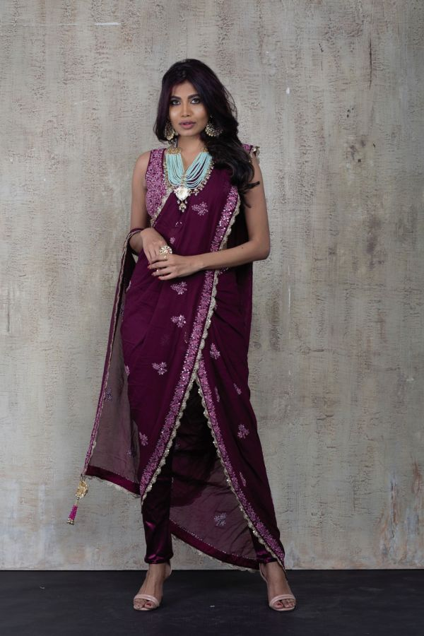 Wine Pant Saree with Choli