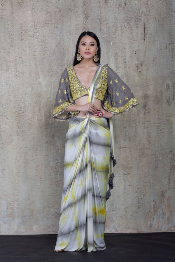 Yellow and Grey Tie Dye Knot Saree with Choli